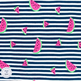Tissu jersey à rayures Oeko tex motifs Pastèques fluo - bleu marine