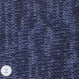 Tissu Maille chinée envers molleton - Bleu