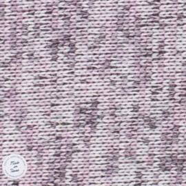 Tissu Maille chinée envers molleton - Vieux Rose