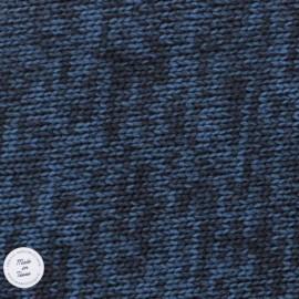 Tissu Maille chinée envers molleton - Pétrole