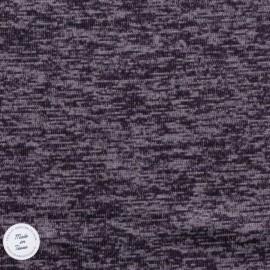 Tissu Maille chinée envers molleton - Prune
