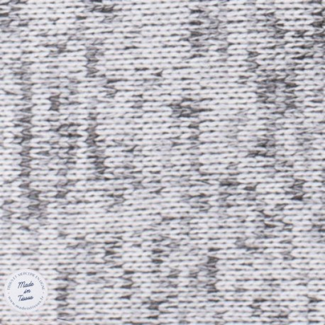 Tissu Maille chinée envers molleton - Gris