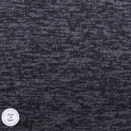 Tissu Maille chinée envers molleton - Gris Anthracite