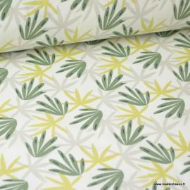 Tissu coton imprimé feuilles vertes, grises et Kaki fond Blanc - Oeko tex