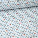 Tissu coton imprimé arc en ciel Baltique et Paprika - Oeko tex