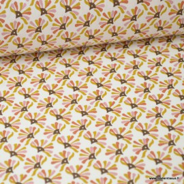 Tissu coton imprimé éventails Caramel et rose fané - Guniko . Oeko tex