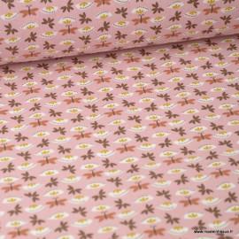 Tissu coton imprimé fleurs et papillons Rose - Sasaki . Oeko tex