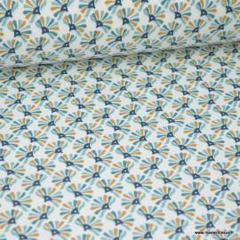 Tissu coton imprimé éventails Nil et Bleu marine - Guniko . Oeko tex