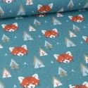 Tissu coton imprimé têtes de Renards et sapins fond bleu Baltique. Oeko tex