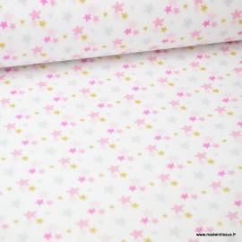Tissu motifs étoiles Roses et Or Luxina - Oeko tex