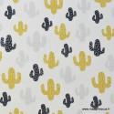 Tissu popeline coton imprimé Cactus Miami fonc blanc