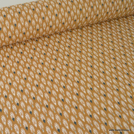 Tissu coton imprimé plumes Camel et Bleu. Oeko tex