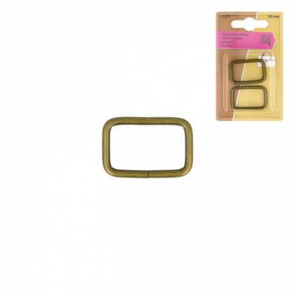 Boucles rectangle 25mm finition Bronze (lot de 2)