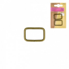 Boucles rectangle 25mm finition Bronze (lot de 2)