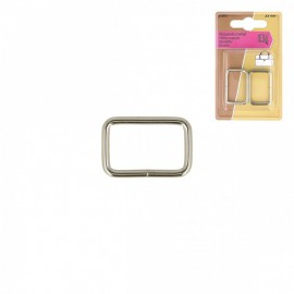 Boucles rectangle 25mm finition Argent nickelé (lot de 2)