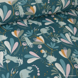 Tissu coton Lorena imprimé Lapins, marmottes et feuillage fond vert Paon- Oeko tex
