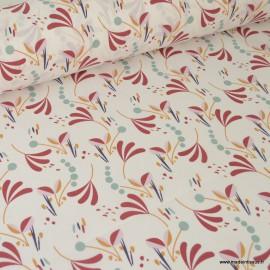 Tissu coton imprimé Feuillage moutarde et rouge sur fond blanc Oeko tex