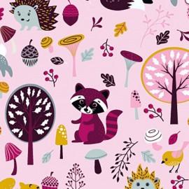 Tissu jersey Oeko tex motifs Forest party Rose