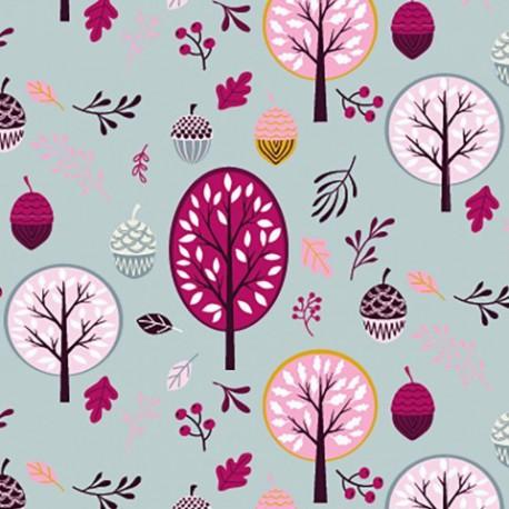 Tissu jersey Oeko tex motifs arbres et glands gris et rose