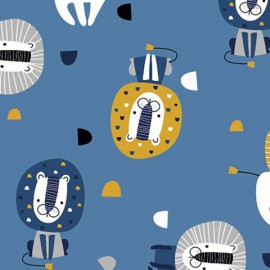 Tissu jersey Oeko tex motifs Lions fond Bleu