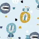 Tissu jersey Oeko tex motifs Lions fond Bleu ciel