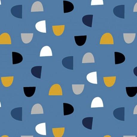 Tissu jersey Oeko tex motifs demi-cercles fond Bleu