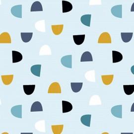 Tissu jersey Oeko tex motifs demi-cercles fond Bleu ciel