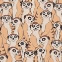 Tissu jersey Oeko tex motifs Lémuriens fond beige