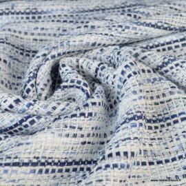 Tissu Tweed bleu et blanc avec fils Brillants esprit Chanel