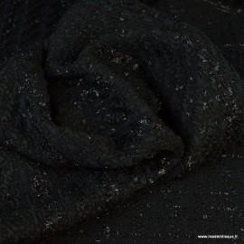 Tissu Tweed Noir avec fils Brillants esprit Chanel