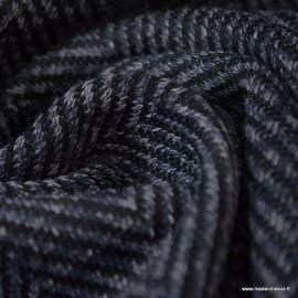Tissu maille Gris Anthracite motifs chevrons