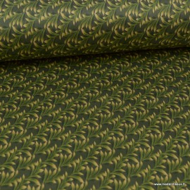 Tissu Suedine motif feuilles de Palme fond Vert