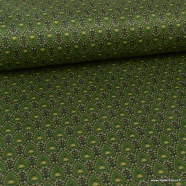 Tissu Suedine motif plumes de Paon fond Vert