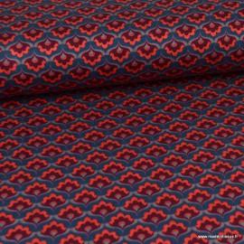 Tissu Jersey milano lourd motifs Fleurs prune fond Pétrole