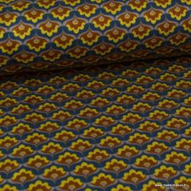 Tissu Jersey milano lourd motifs Fleurs moutarde fond marine