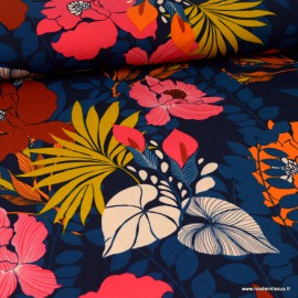 Tissu Maille Scuba imprimé Fleurs fond bleu marine