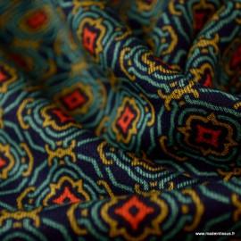 Tissu Jersey milano lourd motifs Retro Marine et vert