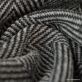 Tissu maille Gris motifs chevrons