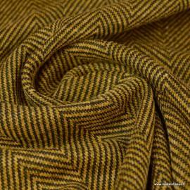 Tissu maille Moutarde motifs chevrons
