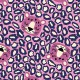 Tissu jersey Oeko tex motifs panthère et oursons Fond Rose