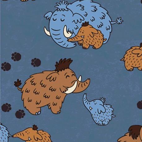 Tissu jersey Oeko tex motifs Mamouths fond bleu