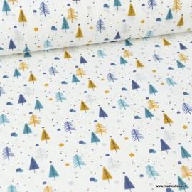 Tissu coton imprimé sapins Ocre et indigo Prikool. Oeko tex