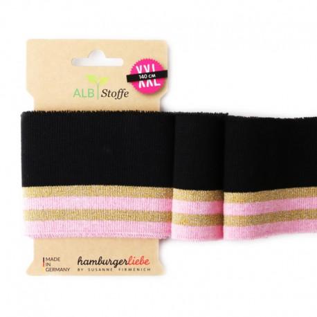 Bord Côte Cuff Me Glam en coton bio noir, rose et et Fil Lurex or 140x8cm