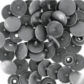 Bouton pression résine diam. 13mm - Gris - lot de 30
