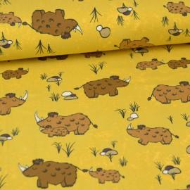 Tissu jersey Oeko tex motifs Mammouths fond moutarde