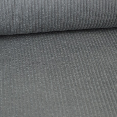 Tissu Velours cotelé grosses côtes Gris