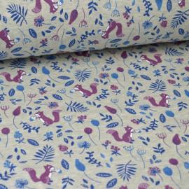 Tissu Sweat envers Minky imprimé Ecureuils et fleurs fond gris chiné
