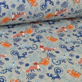 Tissu Sweat envers Minky imprimé renards et paresseux fond gris chiné .x1m