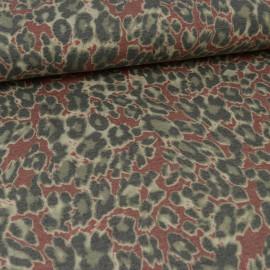 Tissu Jersey motifs Léopards gris et tomette