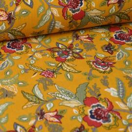 Tissu Viscose imprimé fleurs bordeaux fond Moutarde